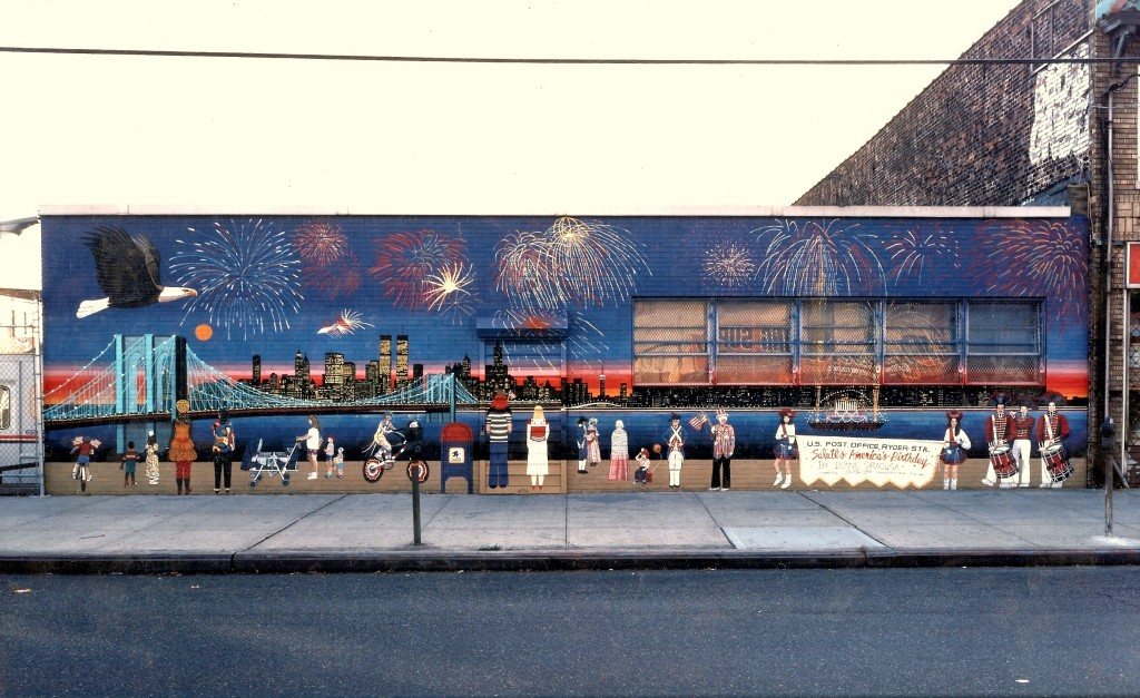 Brooklyn Bridge Fireworks mural for exterior of Ryder Station Delivery Unitedited2