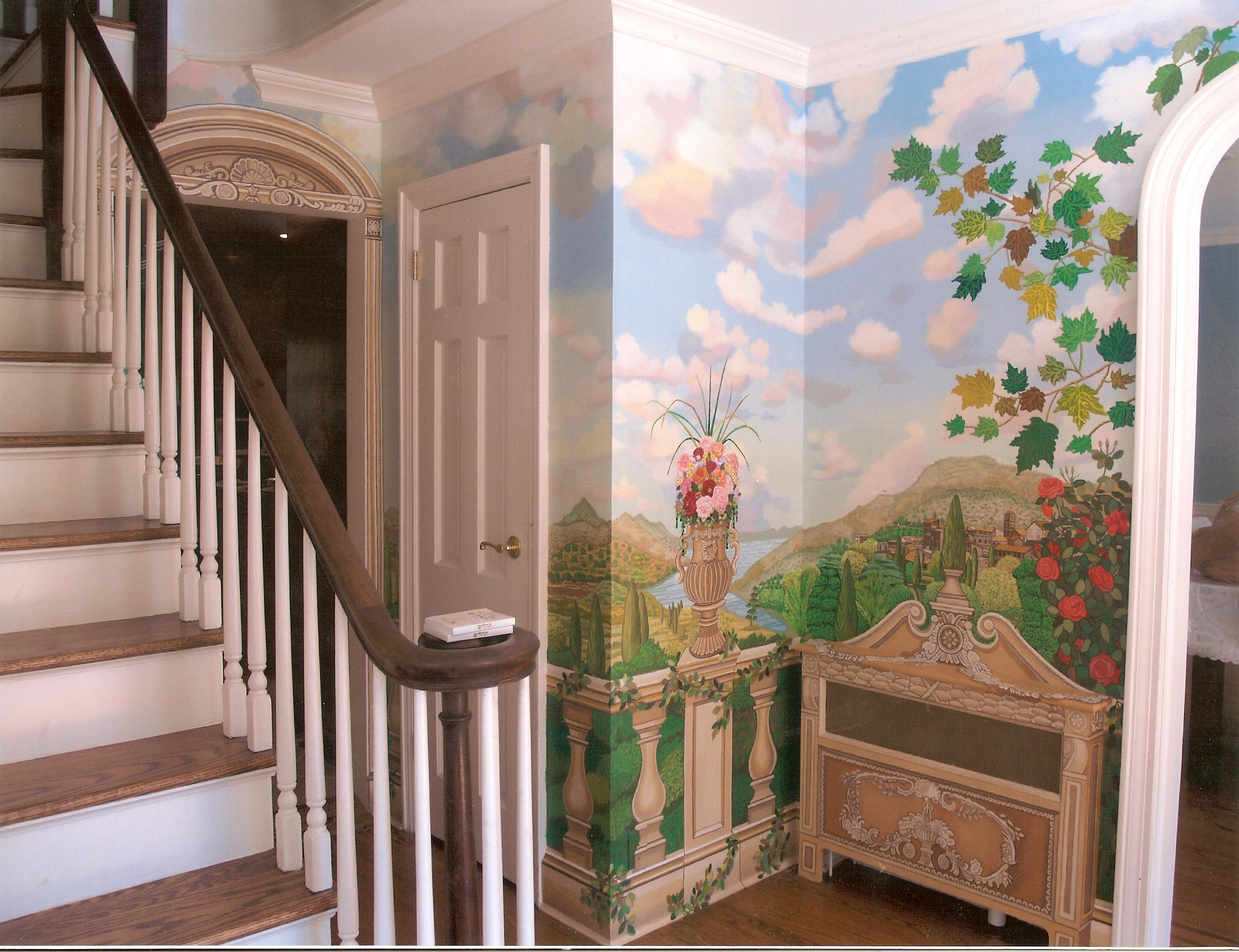 Bonnie siracusa murals fine art back wall of tuscany garden mural for hallway great neck ny amipublicfo Image collections