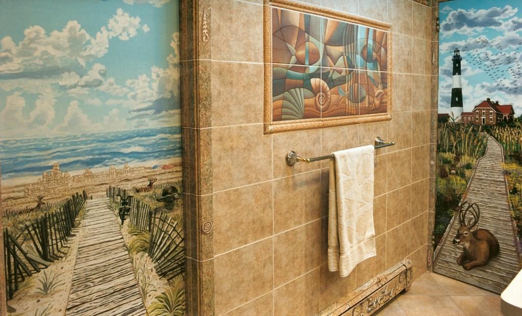 Fire Island Lighthouse scene for master bath. Syosset, NY
