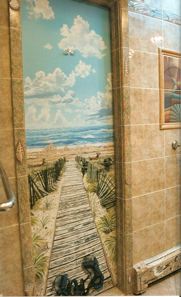 Fire Island beach mural for my master bath. Syosset, NY