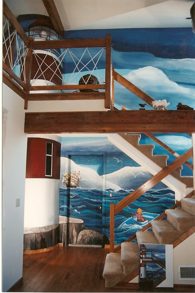 After shot of lighthouse seascape mural for front hallway. Seaford, NY