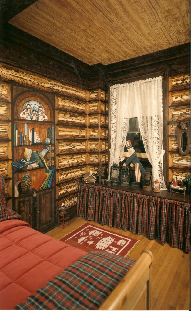 After shot of log cabin mural for boy's room. Madiison Ave. apt. NYC