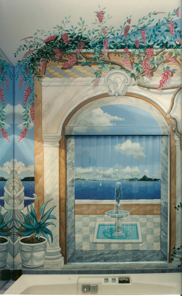 Carribean island mural on vertical blinds in master bath. Woodbury, NY