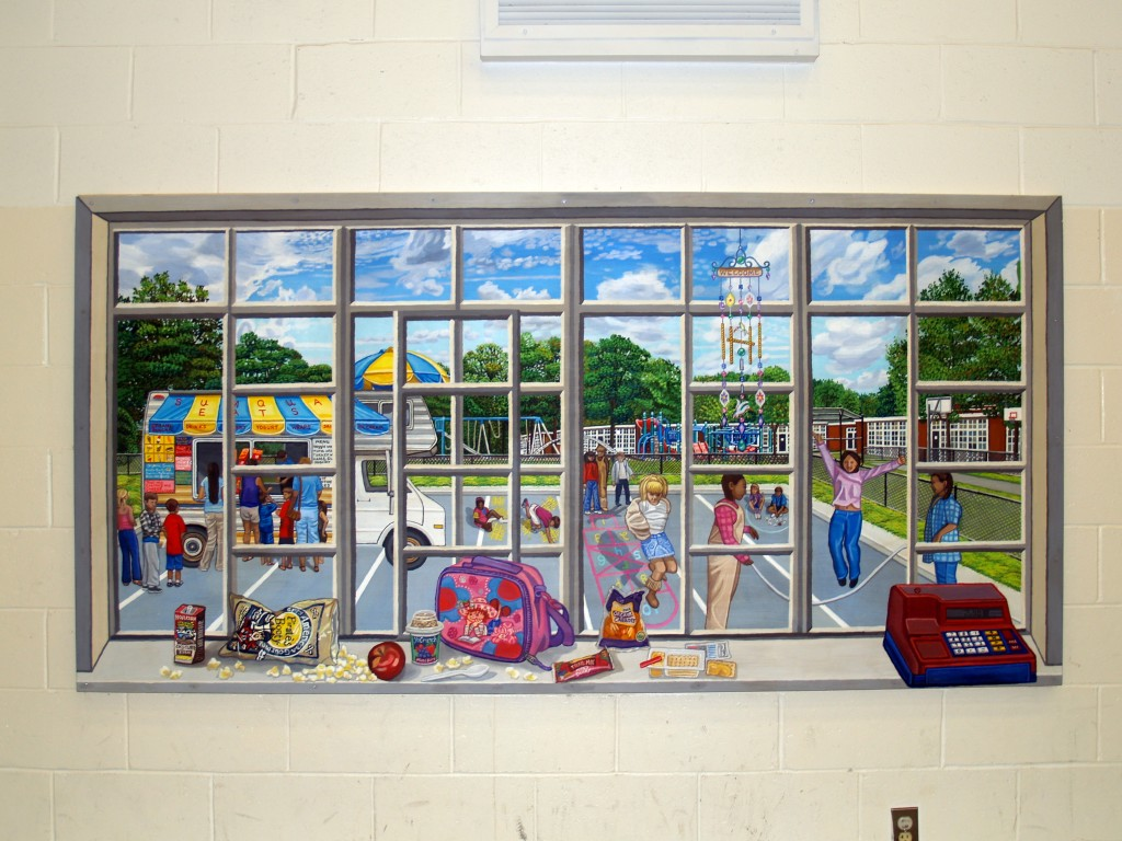 Close up of picture window mural opening out to parking lot for cafeteria of Sun Quam ElementaryeditedSchool.