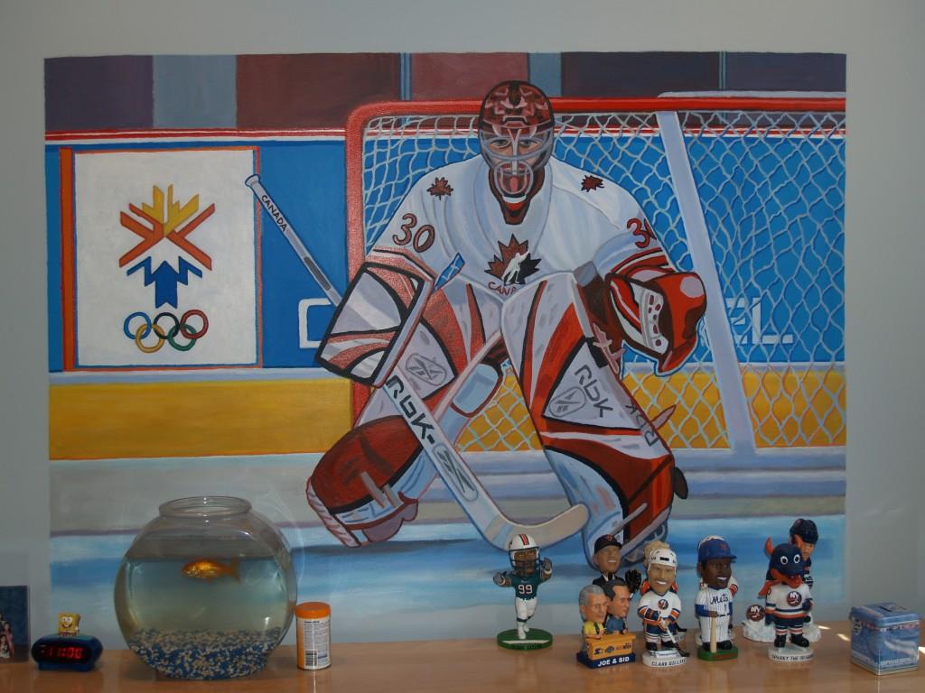 Closeup of hockey player over dresser. Jericho, NY