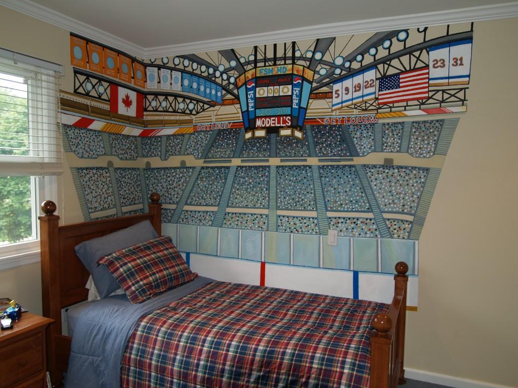Closeup of hockey stadium mural. Jericho, NY