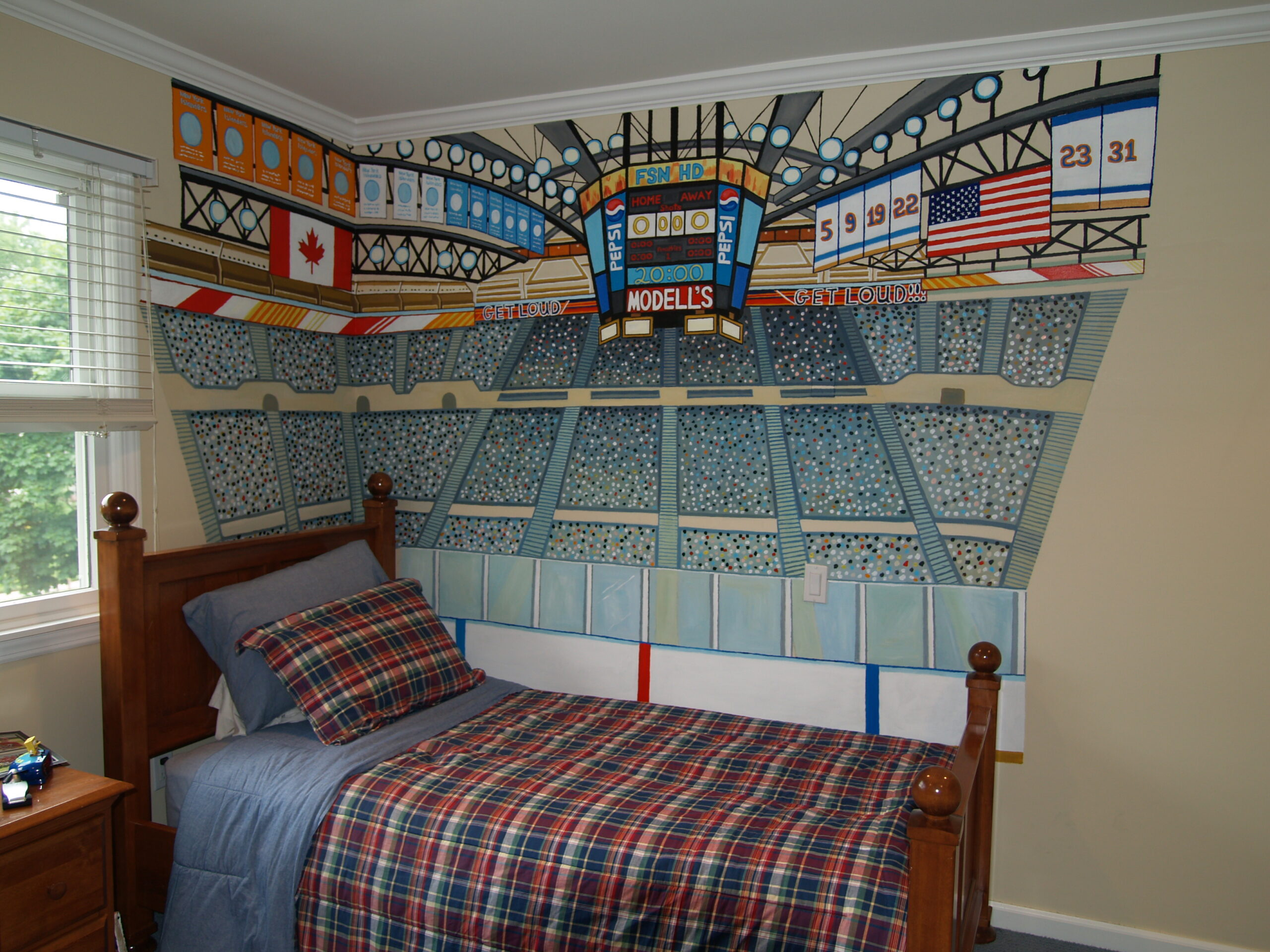 Murals for boys bedrooms - Closeup Of Hockey Stadium Mural Jericho Ny