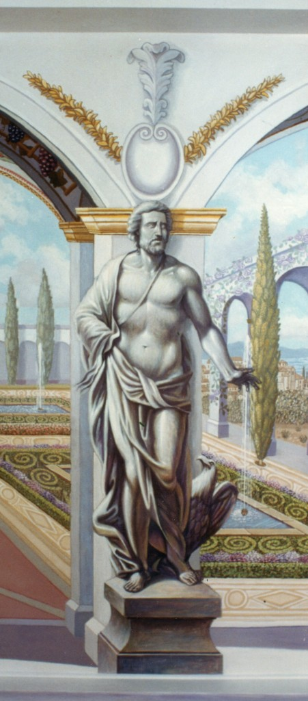 Detail of male tatue from Italian Garden Mural
