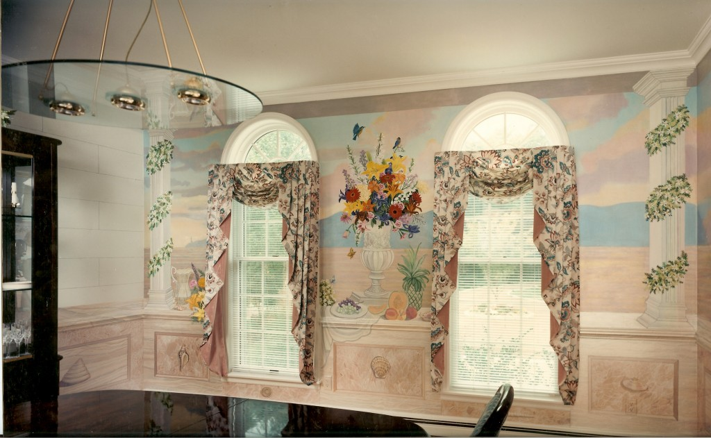 Diningroom mural. with faux marbling. Ft. Salonga, NY