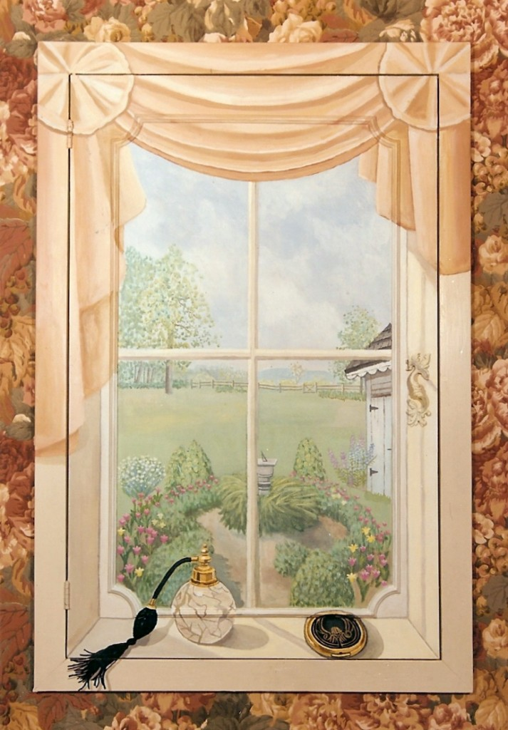 Faux window scene mural for medicine cabinet. Westchester, NY 3