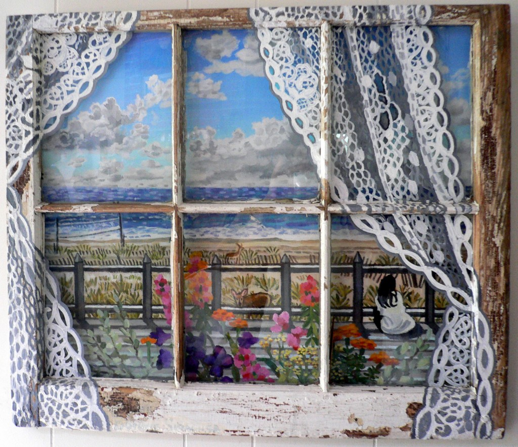 Fire Island ocean view patio  Acrylics on canvas framed with old window.edited