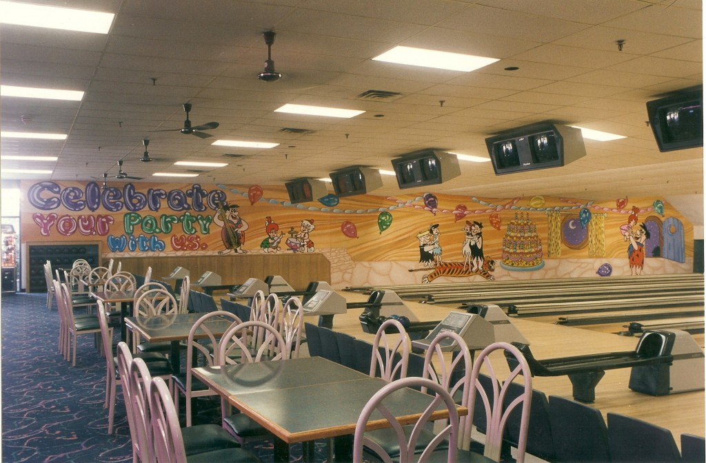Flintstones mural for Baldwin Bowl left wall