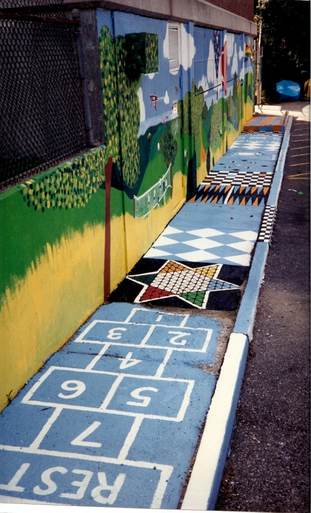 Left side view of Jewish Community Network mural with hopscotch sidewalk. Little Neck, NYedited