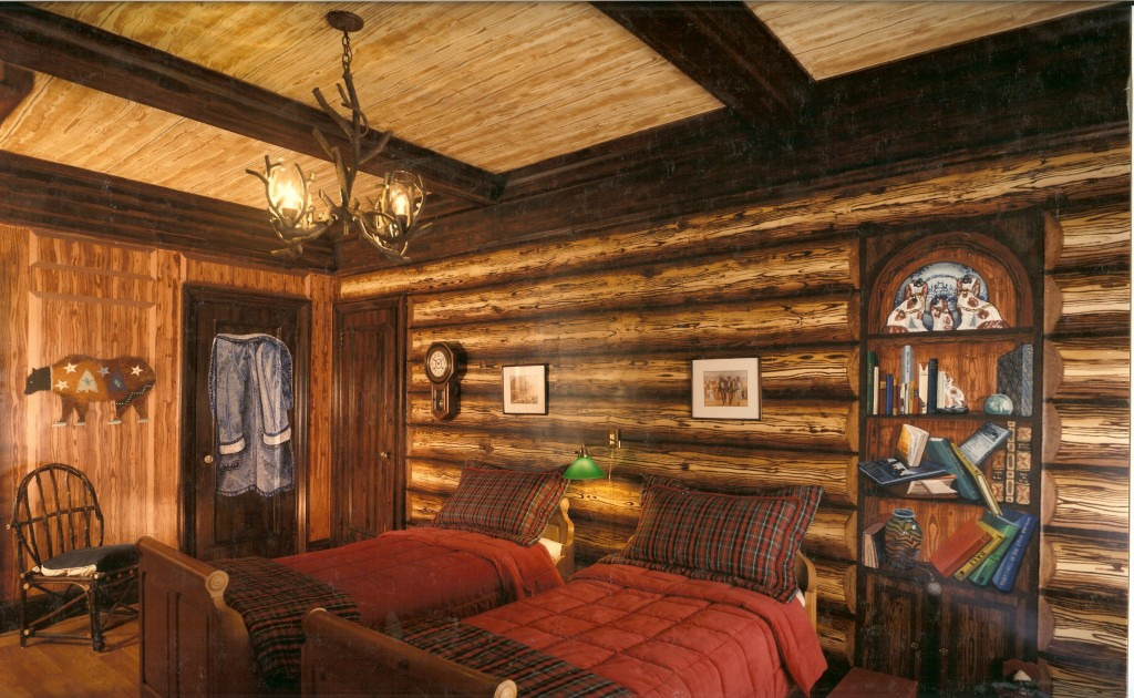 Log cabin mural for boy's bedroom opposite wall. NYC