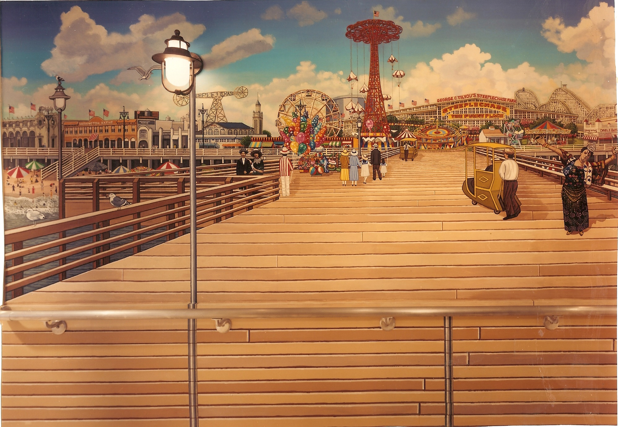 Coney Island Boardwalk Lobby Mural For St Joachim And
