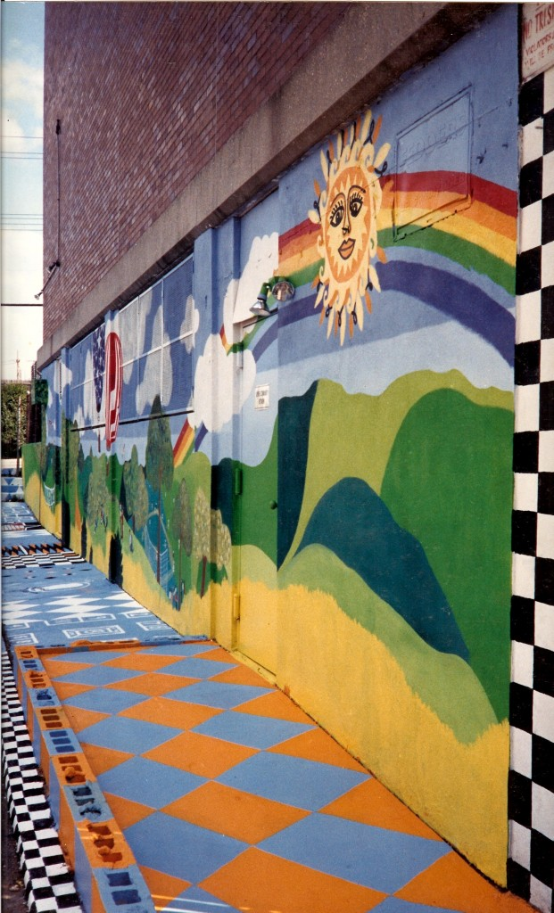 Right Ssde view of Jewish Community Network mural with painted side walk.edited