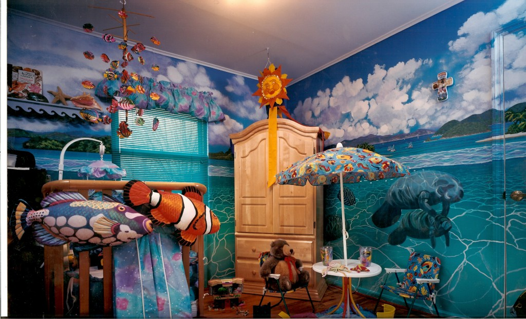 South Pacific islands mural opposite wall. Katie's room. Syosset, NY