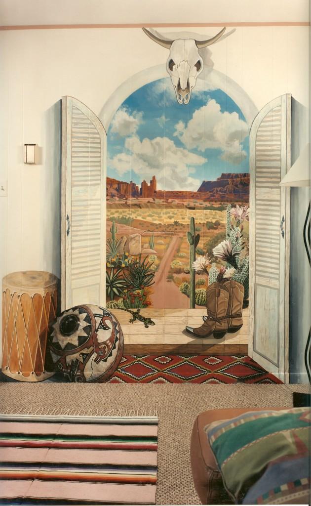 Southwestern desert mural for livingroom. Roslyn, NY