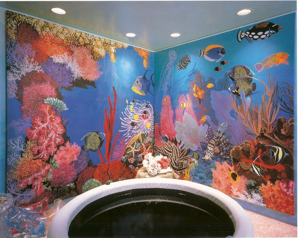 Underwater life mural for hot tub room. Designer showcase, Sands Point, NY - Copy