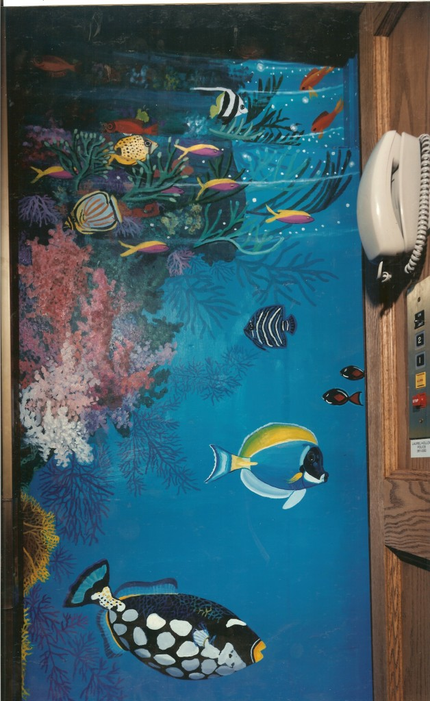 Underwater mural for private elevator. Laurel Hollow, NY. Inbetween floors.