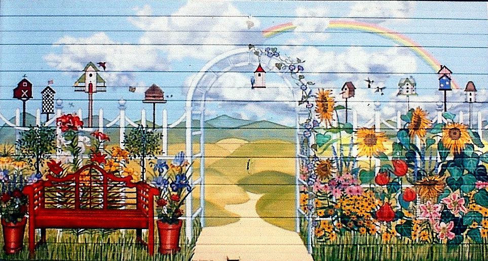Country Garden Garage Door Mural For Backyard Of Home In