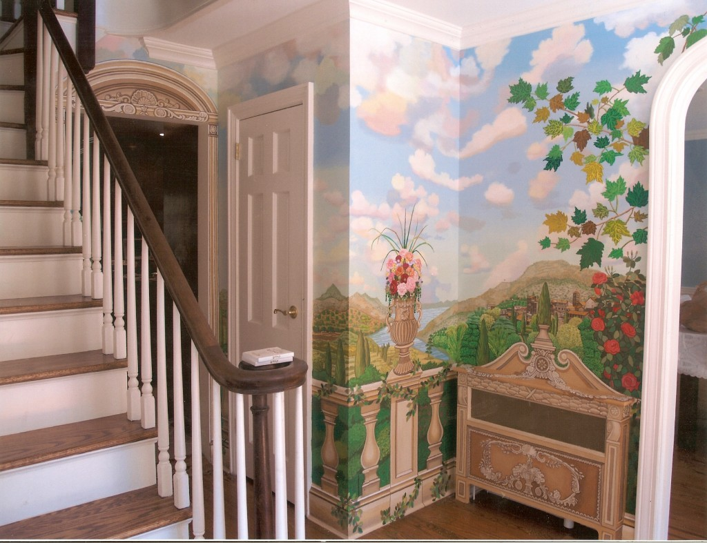 Back wall of tuscany garden mural for hallway. Great Neck, NY