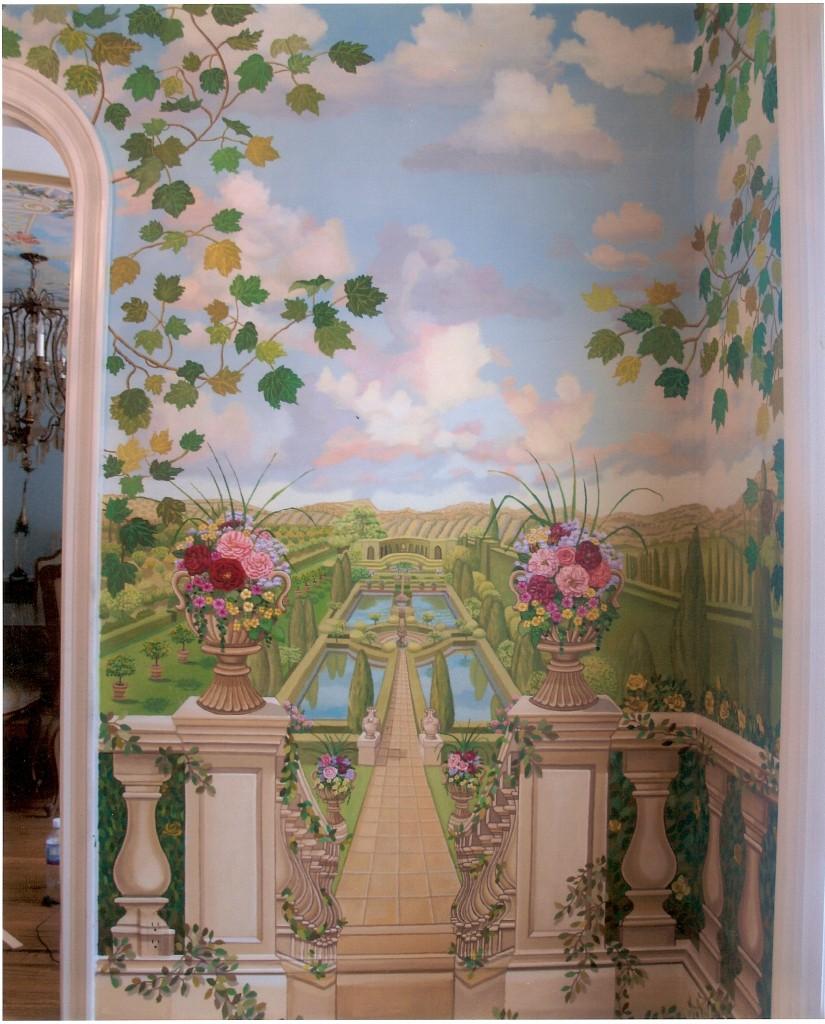 Closeup of tuscany garden mural. Great Neck, NY