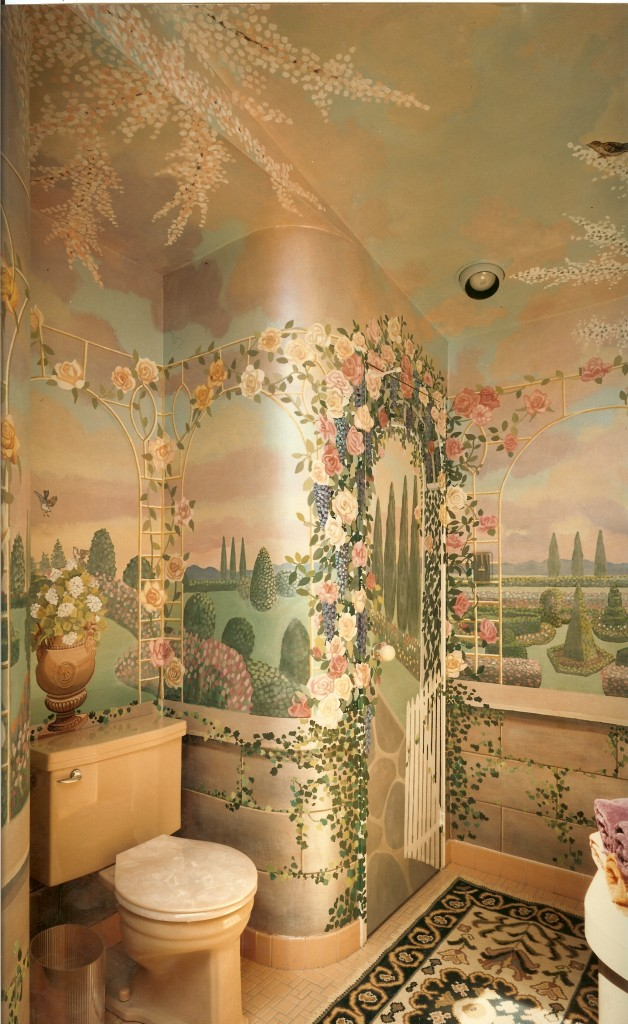 After shot of rose trellis mural for powder room. North Woodmere, NY