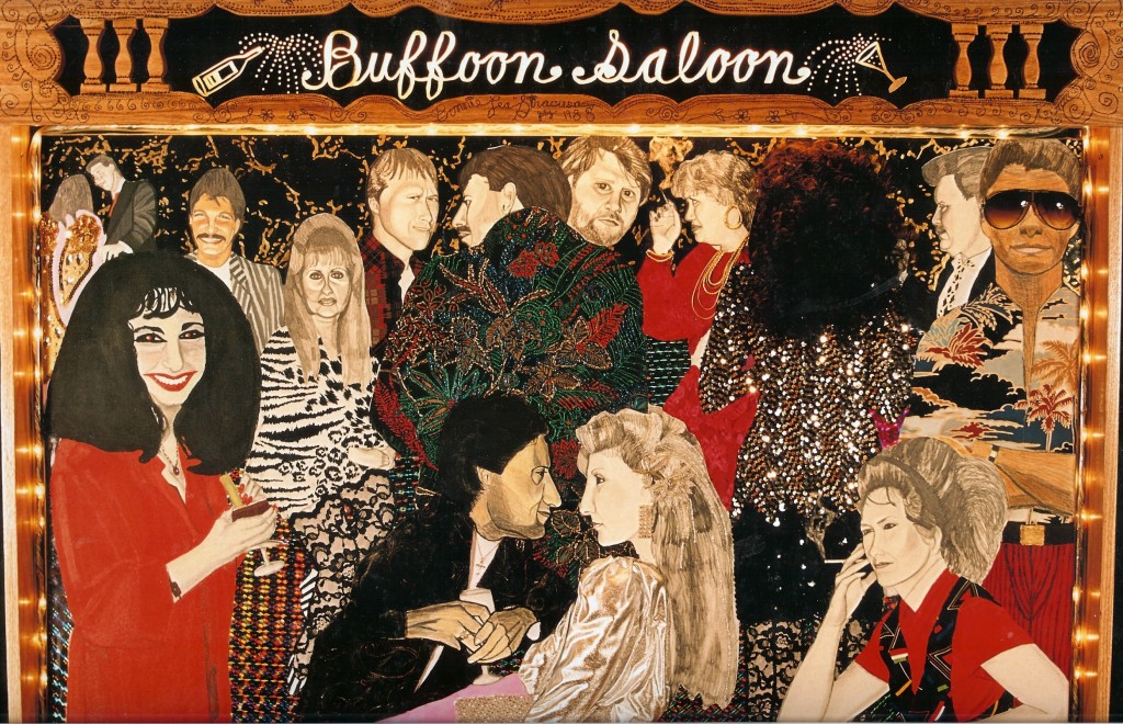 Buffoon Saloon Mixed Media Collage in shadowbox with Illuminationedited