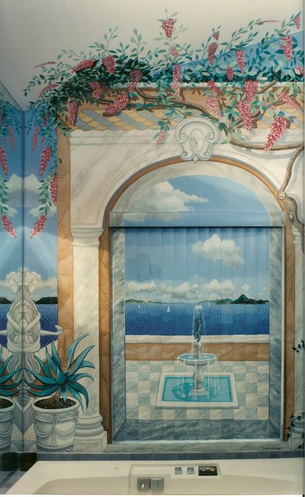 Carribean island mural on vertical blinds in master bath. Woodbury, NY