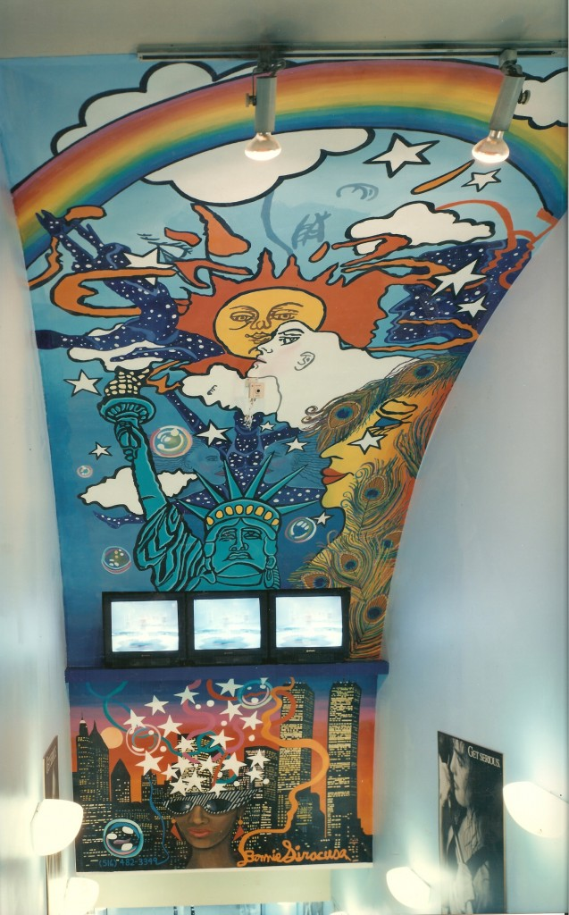 Ceiling mural at Profile Women's Fitness Club