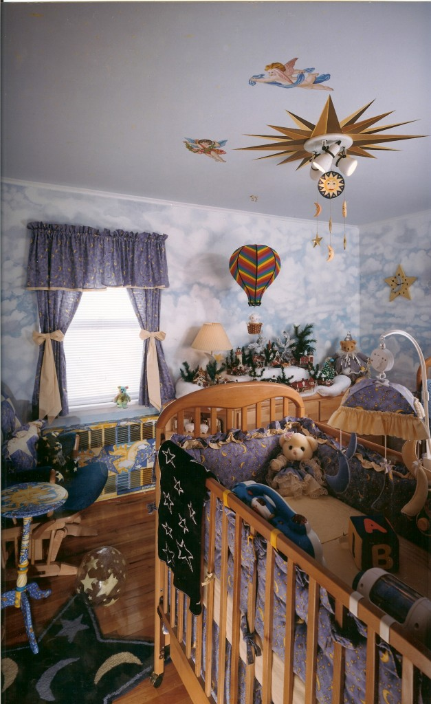 Celestial cloud and ceiling mural for my twin's nursery. Syosset, NY