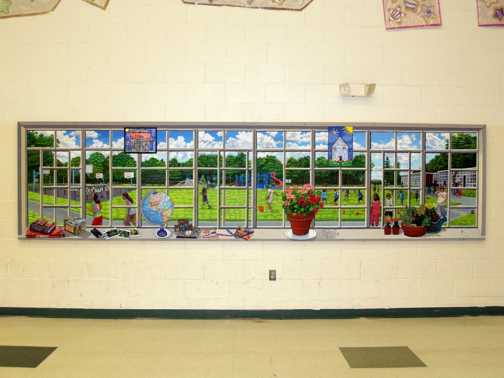 Close up of picture window mural  opening out to School yard for Cafeteria of Sun Quam Elementaryedited1School.