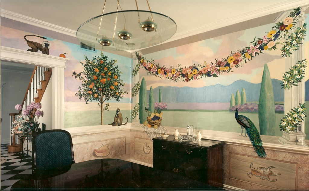 Diningroom mural with faux marblizing. Opposite view.  Ft. Salonga, NY