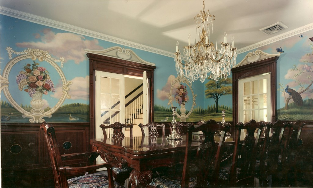 Diningroom mural with flowers and vases. Hewlett Harbor, NY