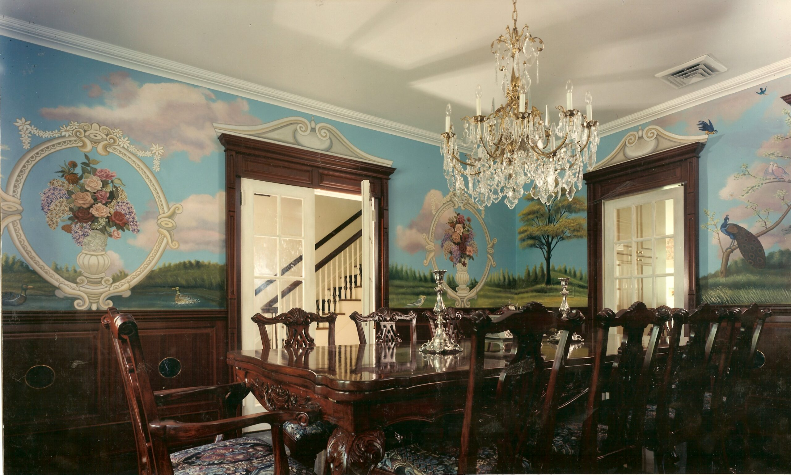 Landscape With Flowers And Fauna Mural For Dining Room In Hewlett Harbor New York