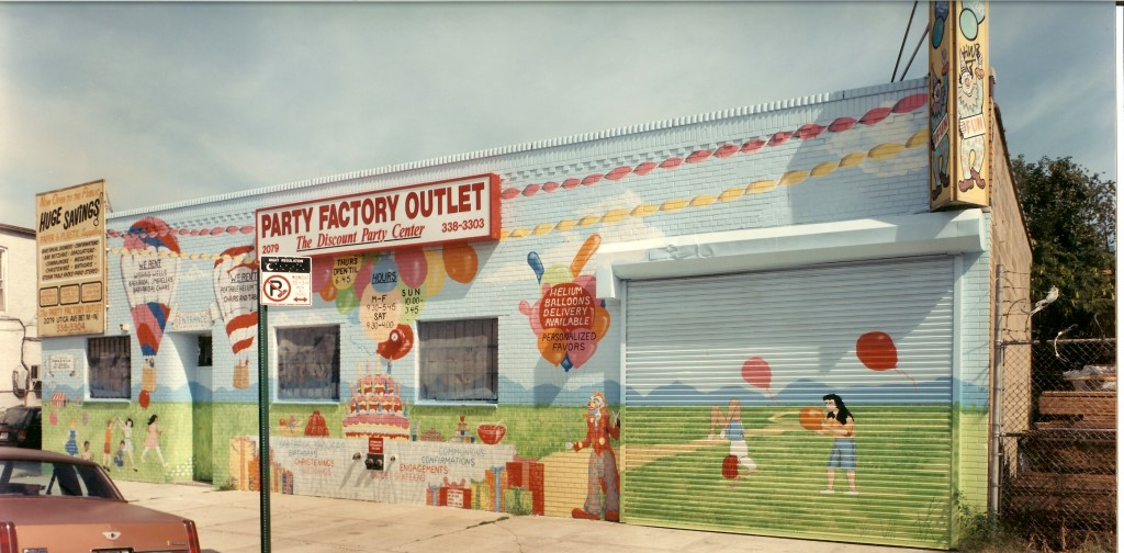 Exterior advertizing mural for Party Factory Outlet.