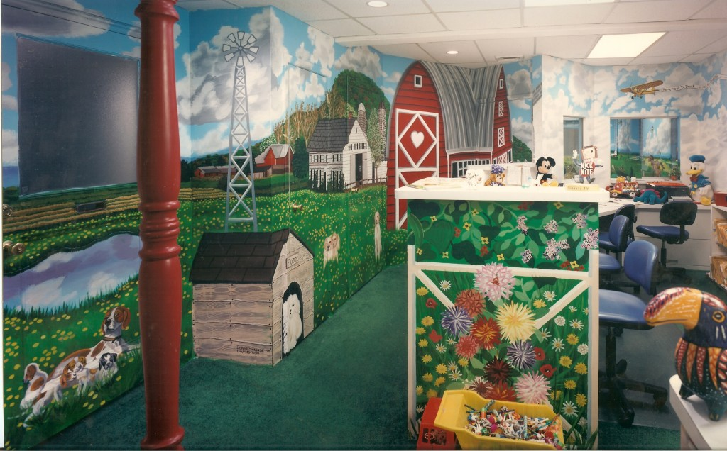 Farm mural for reception room of Dr. Kunken's office.