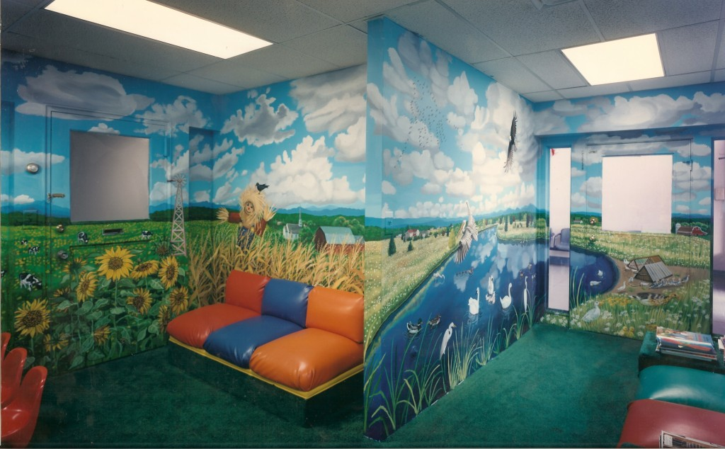 Farm mural for waiting room of Dr. Kunken's office. Back view.