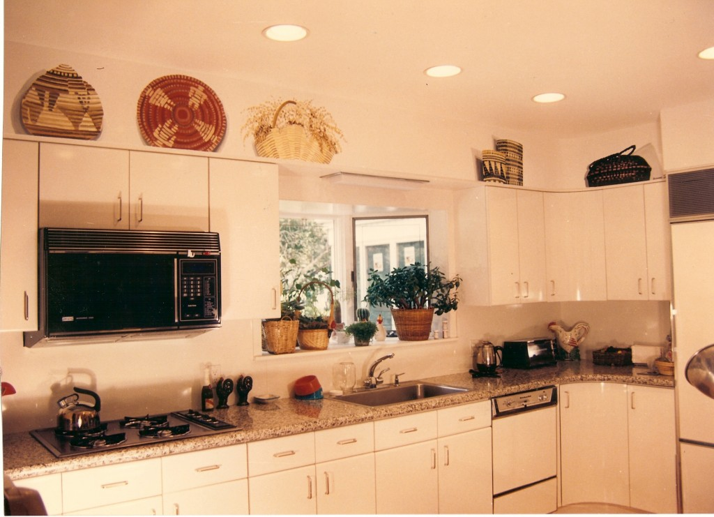 Faux baskets on top of kitchen cabinets. North Bellmore, NY