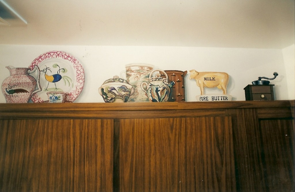 Faux country curios on top of kitchen cabinets. Roslyn Heights, NY