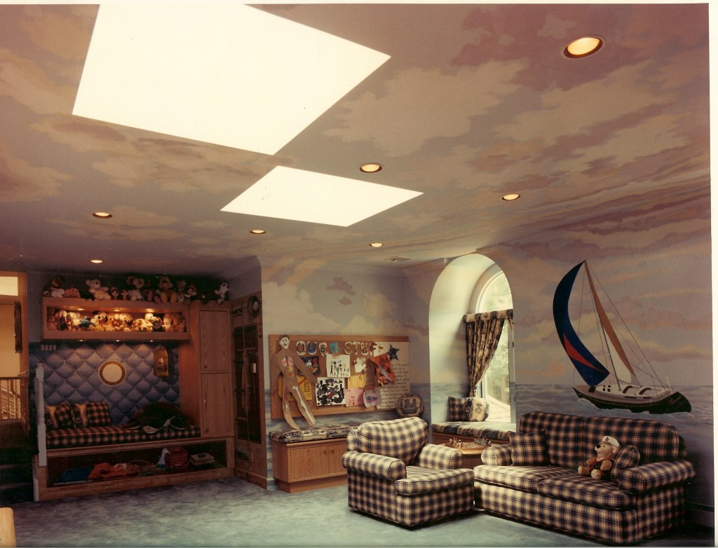 Overall view of marine mural in playroom. Oyster Bay Cove, NY