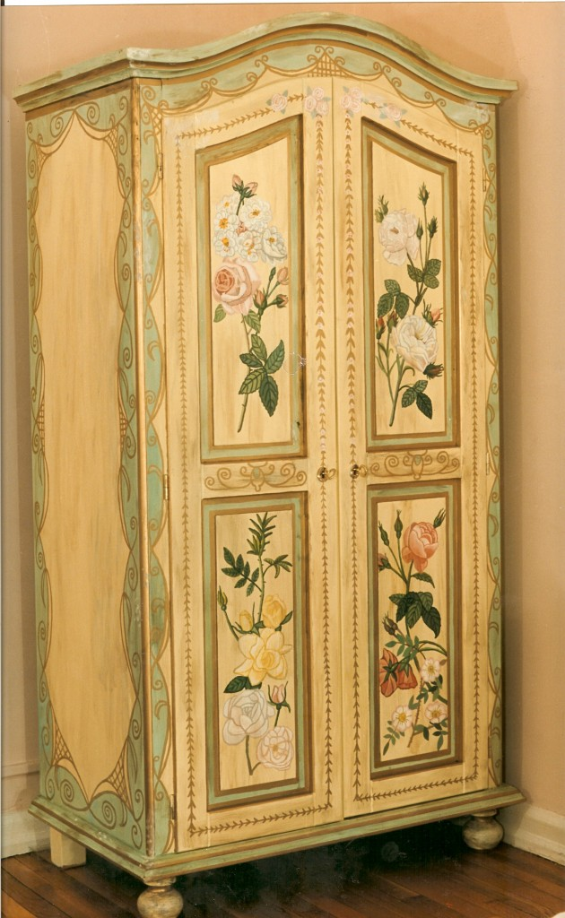 Painted armoire with flowers. NYC