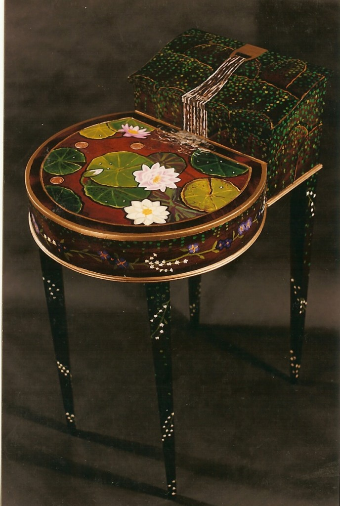 Painted wishing well table NYC-1