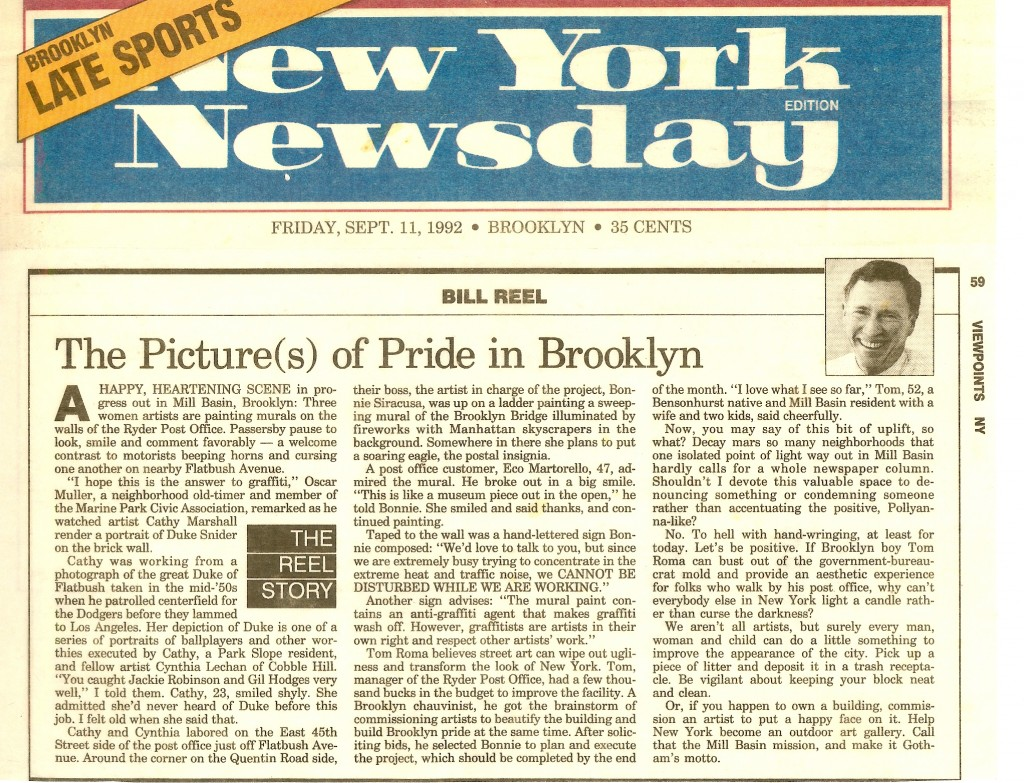 Ryder Station Murals New York Newsday Friday September 11, 1992 Viewpoints news article  The Pictures Of Pride In Brooklyn by Bill Reel