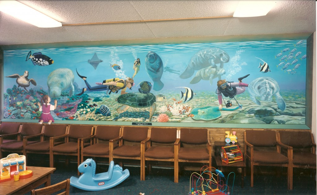 Salt water aquarium mural for Dr. Klein's Office waiting room