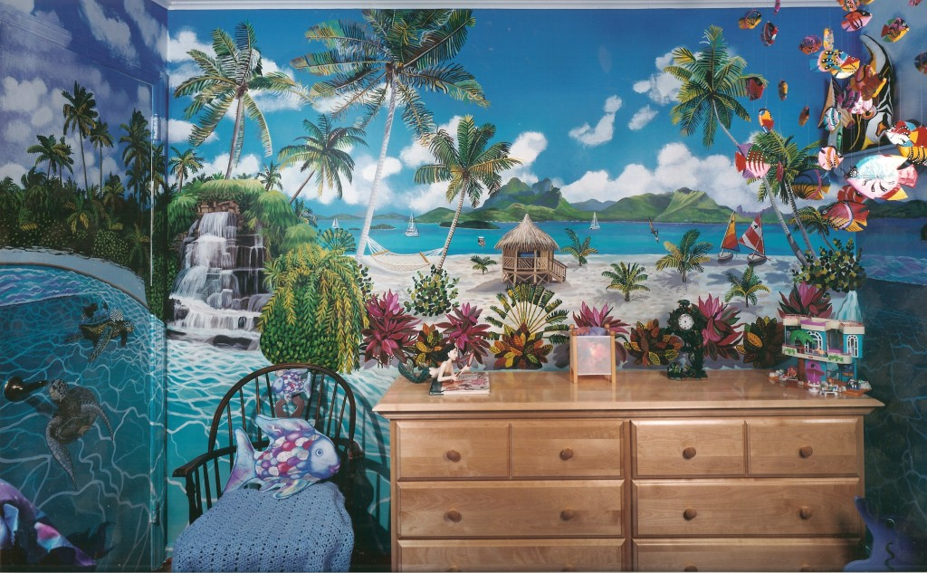 South Pacific islands mural for my daughter katie's room. Syosset, NY