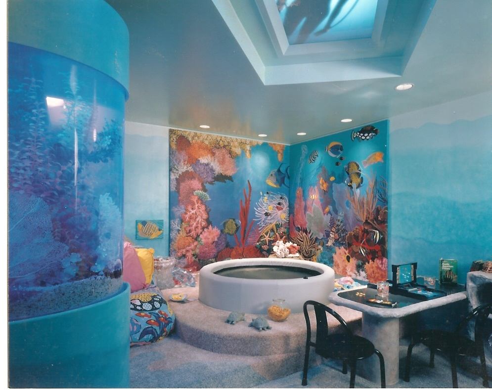 aquarium mural for home entertainment room in sands point