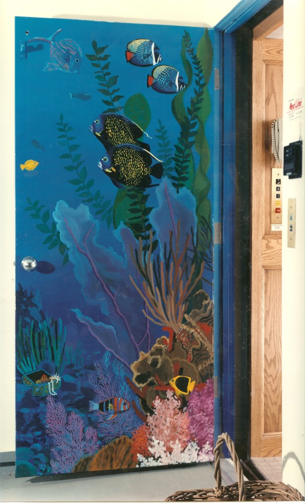 Underwater mural for private elevator. Laurel Hollow, NY. Bottom floor.