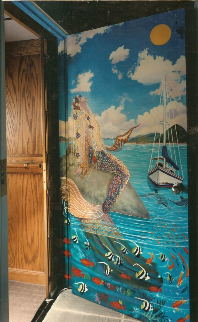 Underwater mural for private elevator. Laurel Hollow, NY. Top floor